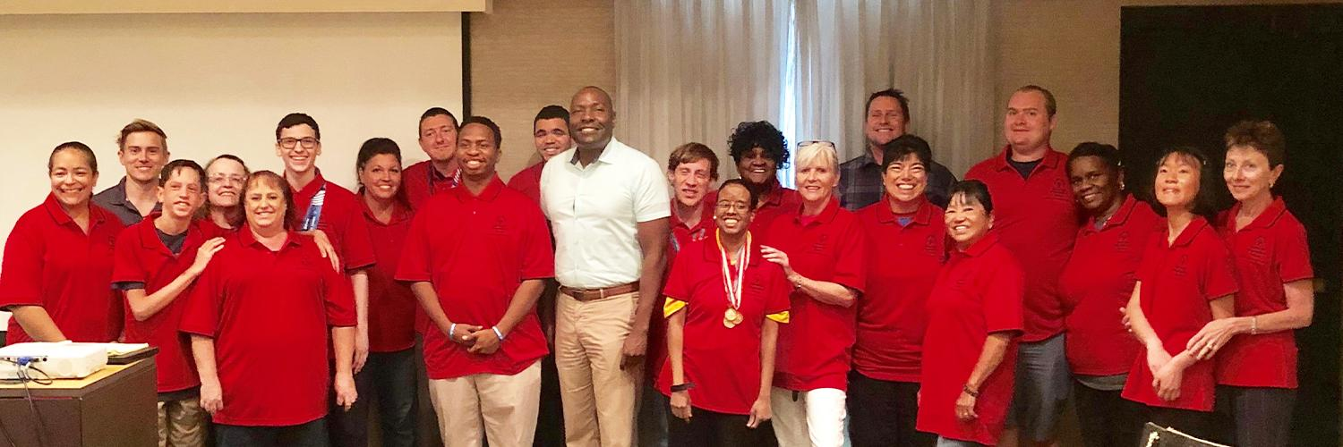 Group of Athlete Leaders in red polo shirts
